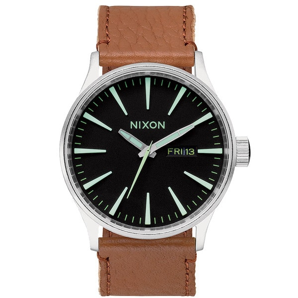 Nixon The Sentry Leather Qurzuhr 2015 (black saddle)