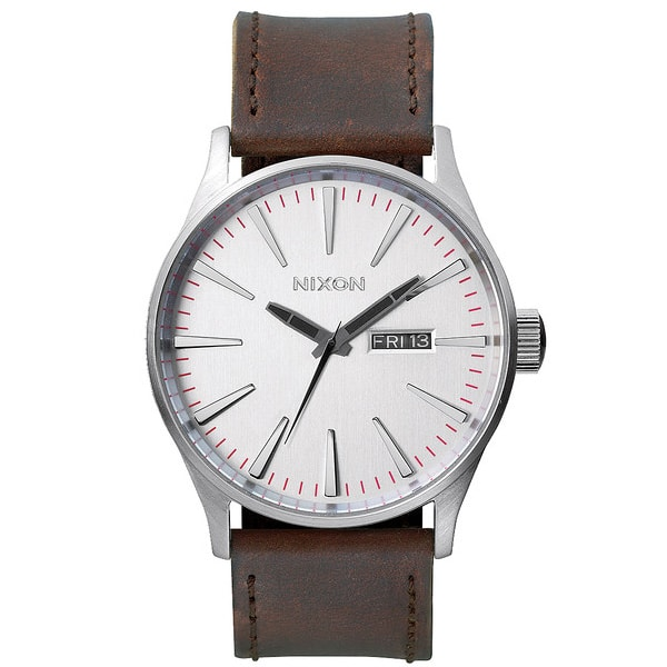 Nixon The Sentry Leather Qurzuhr 2015 (silver brown)
