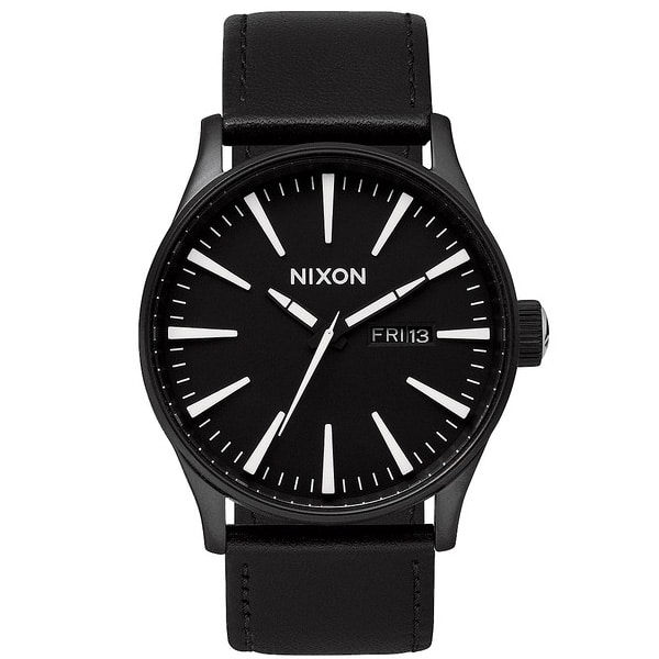 Nixon The Sentry Leather Qurzuhr 2015 (black white)