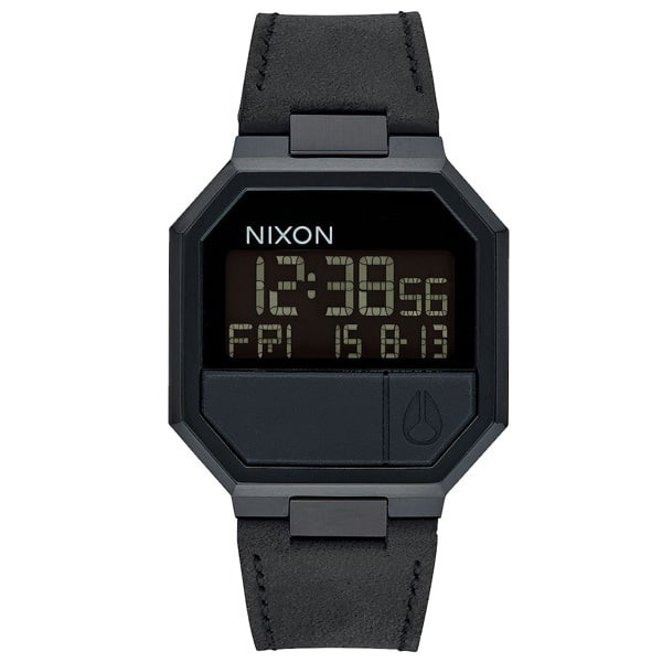 Nixon Re-Run Leder Herren Digitaluhr Armbanduhr schwarz