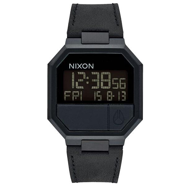 Nixon Re-Run Leder Herren Digitaluhr Armbanduhr schwarz