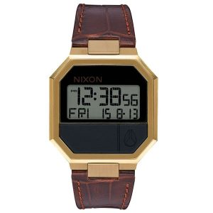 Nixon Digitaluhr Re-Run Herren Armbanduhr braun gold