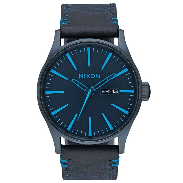 Nixon Sentry Leder Herren Armbanduhr schwarz blau
