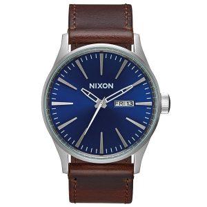 Nixon Sentry Leder Herren Uhr braun blau