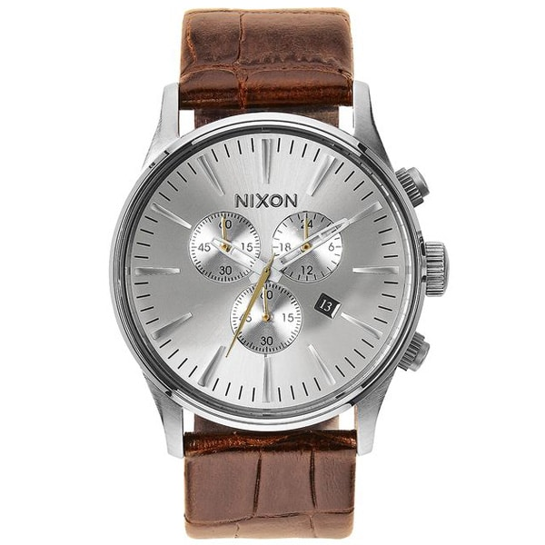 edle Nixon Sentry Chrono Leather Herren Armbanduhr