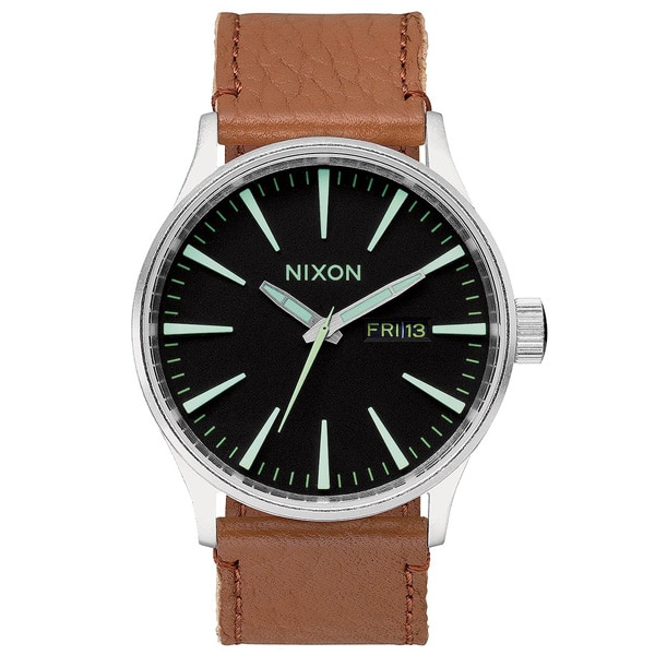 Nixon Sentry Leather Herren Armbanduhr in schwarz braun