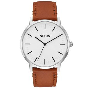 modische Nixon Porter Leather Herren Armbanduhr