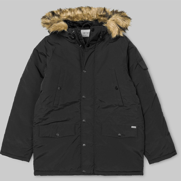 carhartt wip anchorage black parka winterjacke damen. Black Bedroom Furniture Sets. Home Design Ideas