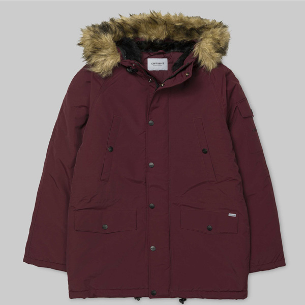 carhartt wip anchorage amarone black parka winterjacke