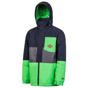 Optik der Kinder Snowboard Jacke in Farbblöcken mit melierten Farben und Elementen in Kontrastfarbe