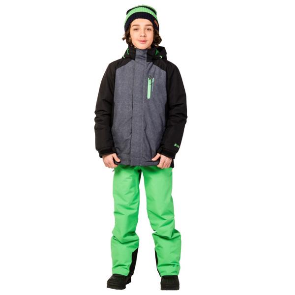 Optik der Kinder Snowboard Jacke mit zahlreichen kräftigen Farbblöcken mit Ärmeln, Brust und Kapuzenfutter in Kontrastfarbe