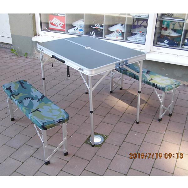 Carhartt Alu Klapptisch Sitzgarnitur mit einem Tisch und zwei Bänken mit Bezug
