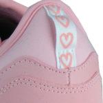 breite Einstiegsschlaufe printed mit rosa Herzchen, an der Ferse