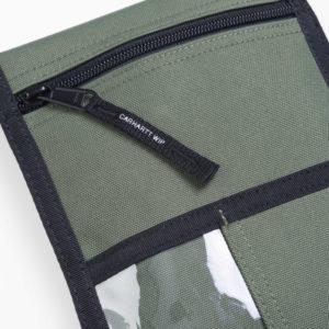 rückseitige geteilte aufgesetzte Tasche mit ID Fenster und Münzfach
