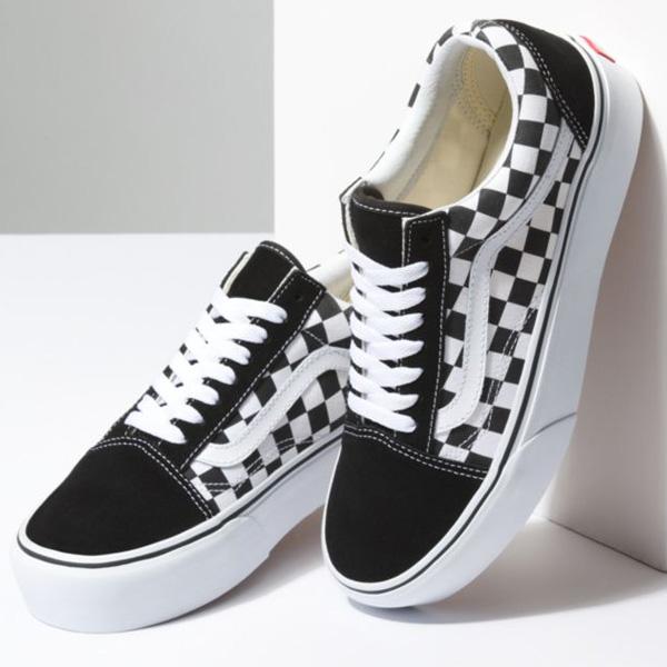 Vans Old Skool Platform checkerboard schwarz weiß