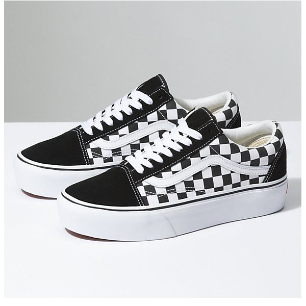 low priced 7faf7 0c63d Vans Old Skool Platform Checkerboard Sneaker Damen schwarz/weiß