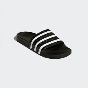 modisches Design in glänzend schwarz mit drei weißen Streifen