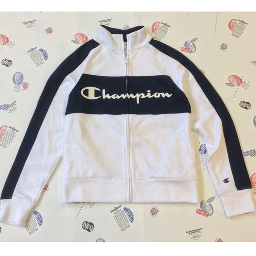 Champion Frauen ZIP Sport Jacke weiß/blau